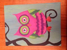 Owl on canvas board, using acrylics.