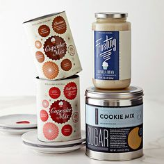 Check out the vast selection of baking products from Williams - Sonoma. We love the range of styles and concets represented in each line of product - The Cupcake Mix looks fun, flirty and festive, The Pancake and Waffle Mixes is working the retro 50s style and The industrial woodcut type and illustrations perfectly fits the Organic Grains