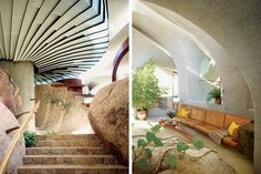 organic modern house, embedded in a five-story mound of rounded boulders on the edge of joshua tree national park in the california desert | designed by kendrick bangs kellogg