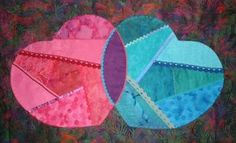 """This is a Crazy Quilt in progress. It is called """"Paula's Hearts"""". It has trims sewn to the seams at this point and I am going to embellish . Crazy Quilting, Hearts, Quilts, Sewing, Scrappy Quilts, Dressmaking, Couture, Quilt Sets, Stitching"""