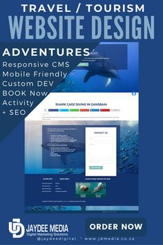 Shark Cage Diving Site is an Adventure Travel Website with a very modern and creative design Travel Website Design, Shark Cage, Custom Web Design, Portfolio Website Design, Tourism Website, Responsive Web, Travel And Tourism, Web Development, Creative Design