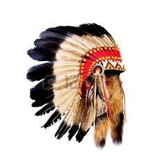 nativo americano chefe indiano cocar (mascote do chefe indiano, indiano tribal cocar, cocar de ?io) photo