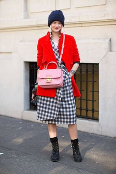 Mixing a grunge inspired look with the ladylike sense abilities of that Miu Miu bag. #MFW