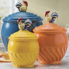 3 Piece Colorful Rooster Canister Set    OMG, I Want These!