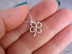 Four Leaf Clover Necklace in Sterling Silver , Handmade Shamrock Necklace , Silver  Necklace , Good Lucky Charm Necklace
