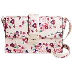 Women's Pink Floral Crossbody Handbag ($35) ❤ liked on Polyvore featuring bags, handbags, shoulder bags, pink shoulder bag, crossbody handbags, purse shoulder bag, hand bags and purse crossbody