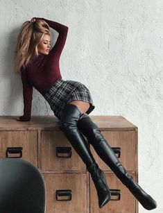 Fashion Boots, Fashion Outfits, Womens Fashion, Elegantes Outfit Frau, Sexy Outfits, Cute Outfits, Sexy Stiefel, Thigh High Boots Heels, High Leather Boots