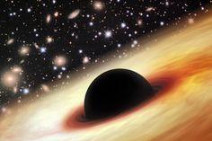 Impressão artística do quasar com um buraco negro supermassivo no universo distante