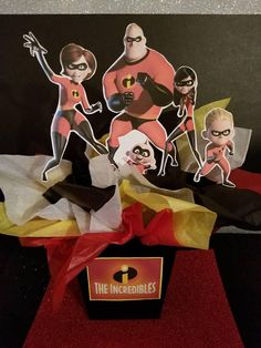 The Incredibles centerpiece 5th Birthday Party Ideas, 4th Birthday, Party Themes, Incredibles Birthday Party, Batman Birthday, Kids Party Centerpieces, Neighborhood Party, Toy Story Party, The Incredibles