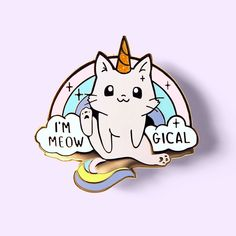 Cat Stickers, Printable Stickers, Journal Stickers, Planner Stickers, Unicorn Cat, Cat Pin, Pin And Patches, Hard Enamel Pin, Card Wallet