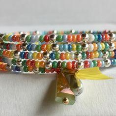 Bracelet mémoire de forme, perles multicolores