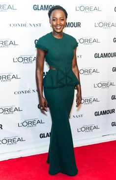 Who: Lupita Nyong'o When: November 09, 2015 Why: Fringe trim, cutouts, and a peplum waist makeup the subtle details crafted by Jason Wu for this emerald gown. It suits Nyong'o's figure and her consistently strong sense of style.