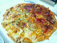 グラタンとチョリソーのピザ
