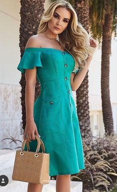 40 ideas dress skirt green for 2019 Cute Dresses, Vintage Dresses, Casual Dresses, Fashion Dresses, Summer Dresses, Look Fashion, Girl Fashion, Womens Fashion, Fashion Design