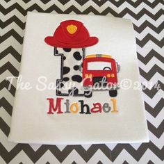 Dalmation FIRETRUCK Birthday Personalized Applique T-Shirt-Birthday Party-Photos-Dress Up-FIre Man-Fire Truck on Etsy, $26.99