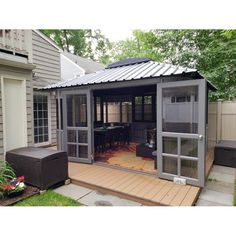 Screened Porch Designs, Screened In Patio, Back Patio, Screened Porch Doors, Hot Tub Gazebo, Patio Gazebo, Backyard Patio, Diy Gazebo, Pergola Ideas