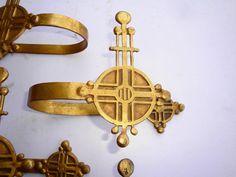 RARE ANTIQUE ARTS CRAFTS JUGENDSTIL DECO CURTAIN HOLD BACKS GILT BRASS ORMALU | eBay