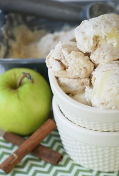 Apple Pie Ice Cream by www.threekidsandafish.com on www.cookingwithruthie.com a NO churn recipe that that's everything fall!