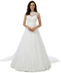 ee042e31 MengLu Womens Winter Appliques High White Lace Wedding Dress Bridal Ball  Gown ** Check out