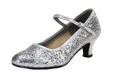 OUCHI Fashion Women Glitter Kitten Heel Satin Latin Dance Party Ballroom Shoes CN38 Silver *** Click image for more details.(This is an Amazon affiliate link)
