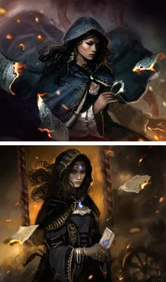 Dan Dos Santos, The Fires of Heaven sketches. I like these better than the final version - to my mind, they're a better depiction of Moiraine!
