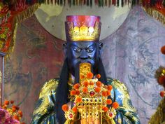 A fearsome image of Guan Yu, a deified Han Dynasty general, stands on the main altar of the God of War Temple in Tainan, Taiwan. Sun Moon Lake, Guan Yu, God Of War, Taipei, Altar, Temple, China, Image, Altars