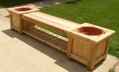 DIY Wood Planter Bench Plans Wooden PDF build woodworking workbench - All About Gardens Deck Planter Boxes, Deck Planters, Planter Bench, Wooden Garden Planters, Diy Planter Box, Planter Ideas, Diy Wood Box, Wooden Diy, Diy Bank