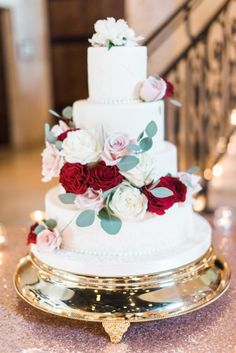 Romantic Floral Wedding Cake - Dana Fernandez Photography