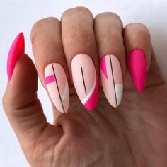 How almond shaped nails are different from other nail shapes? It is the first thing we need to discuss before we proceed with nail art ideas. A nail in the shape of an almond is somewhat slender… Fancy Nails, Cute Nails, Pretty Nails, My Nails, Simple Nail Designs, Nail Art Designs, Gel Manicure Designs, Almond Nails Designs, Pink Acrylic Nails