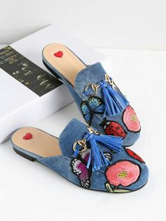 9ef8460b6f2aba 28.26 embroidered patches loafer sliders guccish Mules Shoes Flat