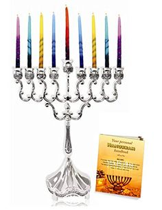 Silver Plated Hanukkah Candle Menorah 6.5' x 8.5' with Menorah Lighting Guide! >>> Want to know more, click on the image.