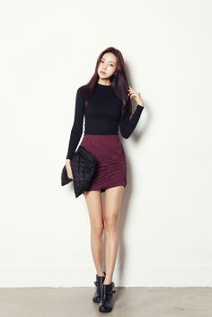 Twist shirring SKT($40.66)-Skirt by Celes