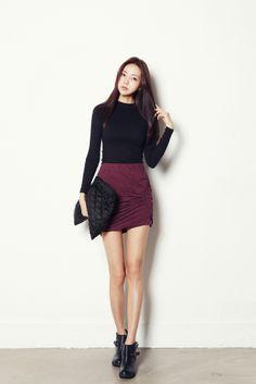 Twist shirring SKT($40.66)-Skirt by Celes