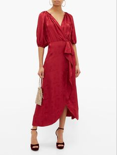 Fancy, Silk, Formal, Burgundy, Wrap Dresses, Draping, Clutch Bag, Special Occasion, Waterfall