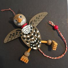 Vintage Wooden Jumping Jack Pull String Toy Owl - Collectible Hand Painted Toy, FAMO, Made in Austria by littlejoesattic on Etsy