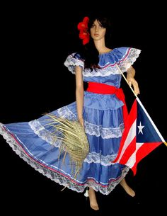 GUINGAN BOMBA BLUE & RED Puerto Rico