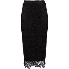Zibi London Lace Pencil Skirt (125 BRL) ❤ liked on Polyvore featuring skirts, bottoms, black, women, lace pencil skirt, lace skirt, lacy skirt, knee length pencil skirt and pencil skirt