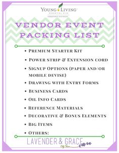 Lots of vendor fairs around the holidays. Here's my list of what to pack for a Young Living essential oils booth. Read more at www.lavenderngrace.com