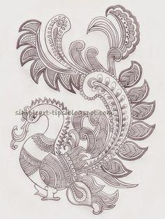 Simple Art & Craft: Madhubani style peacock pencil sketch