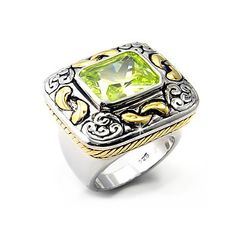 Unique Sterling Silver Ring with Apple Yellow CZ - DT Jewelers, VORI07-04151