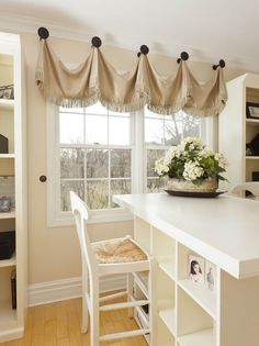 Fringed Valance Hung from Large Knobs