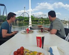 Nice Meal with an awesome view at Heide Park 🎢😍 Pizza, Pasta and salad 🍕🍝😋 .  #heidepark #germany #monday #throwback #remember #themepark #amusementpark #rollercoaster #achterbahn #freizeitpark #nature #outdoor #photography #lunch #lunchtime #mittagessen #eat #food #fastfood #background #travel #traveling #travelgram #pizza #foodporn #lake #foodie #trip #essen #thrillride by janboetz. food #foodie #eat #photography #traveling #heidepark #themepark #trip #monday #background #foodporn…
