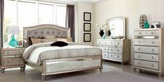 BLING GAME COLLECTION METALLIC PLATINUM BEDROOM BED 204181Q by COASTER