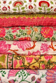 I have a collection of these indian fabrics that are vintage and from India. I use them for applique pieces on garments - love them so much