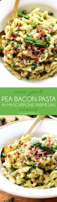 One Pot Pea and Bacon Pasta in Mascarpone Parmesan Sauce is a decadently delicious pasta and the EASIEST pasta you will ever make (seriously look at the directions)! Fabulous company or special occasion stress free side! #Easter #holiday #Thanksgiving #pesto