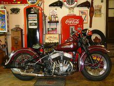1949 Harley-Davidson WL 45 Twin Burgundy Color Firestone