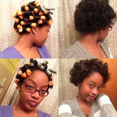 Dry roller set for transitioning to natural african american hair.
