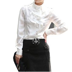 The Beautiful and Girlish Ruffled Blouses : White Ruffle Front Blouse Design