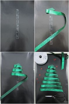 and Stylish DIY Christmas Gift Wrapping Ideas. Shown: simply folding a green ribbon back and forth on double-sided tape.Fun and Stylish DIY Christmas Gift Wrapping Ideas. Shown: simply folding a green ribbon back and forth on double-sided tape. Creative Gift Wrapping, Creative Gifts, Diy Creative Ideas, Wrapping Gifts, Creative Christmas Gifts, Easy Gift Wrapping Ideas, Easy Diy Wrapping Paper, Holiday Gifts, Gift Wrapping Tutorial