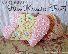 Cake Batter Rice Krispies Treats - ooey gooey marshmallow goodness!  MyRecipeMagic.com